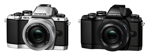 <OM-D E-M10 14-42mm EZレンズキット(左:ボディー色シルバー/右:ボディー色ブラック)> 「OM-D E-M10」 + 「M.ZUIKO DIGITAL ED 14-42mm F3.5-5.6 EZ」