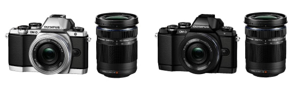 <OM-D E-M10 EZダブルズームキット (左:ボディー色シルバー/右:ボディー色ブラック)> 「OM-D E-M10」 + 「M.ZUIKO DIGITAL ED 14-42mm F3.5-5.6 EZ」 + 「M.ZUIKO DIGITAL ED 40-150mm F4.0-5.6 R」